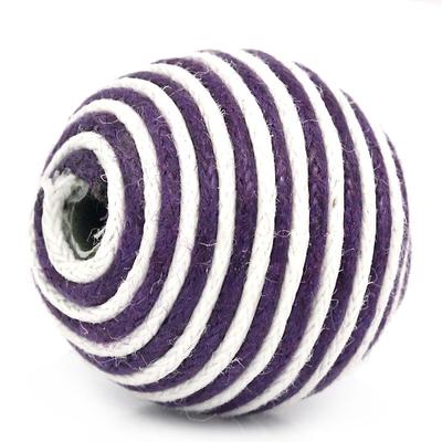 Lot de 2 perles recouvertes de cordon coton, violet prune et blanc rayure 21mm