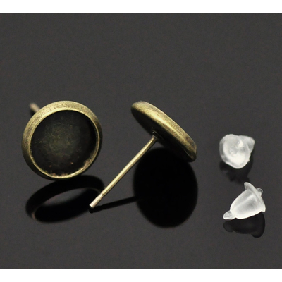 Lot de 2  supports boucles d'oreilles bronze 14x10mm pour petit cabochon rond