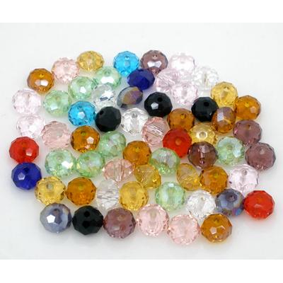 Lot de 20 perles en cristal ronde facettée couleurs mélangées