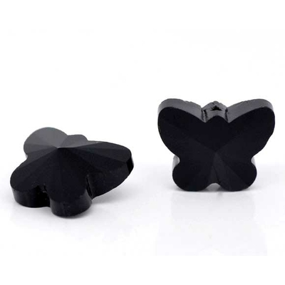 Lot de 2 papillons en cristal à facettes noir 15*12mm