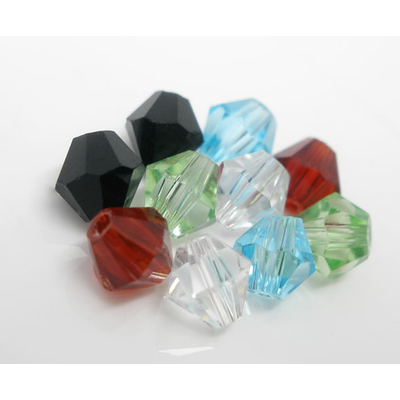 Lot de 30 Perles en cristal toupie ou bicone 4mm couleurs mélangées
