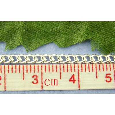1 mètre de chaine maille gourmette en métal argenté 2x3mm