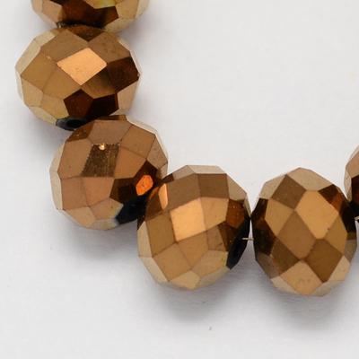 Lot de 30 perles en verre à facettes cuivre, or, bleuté-6x8mm