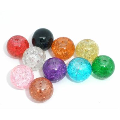 Lot de 20 perles en verre 12mm multicolores, craquelées, couleurs mélangées