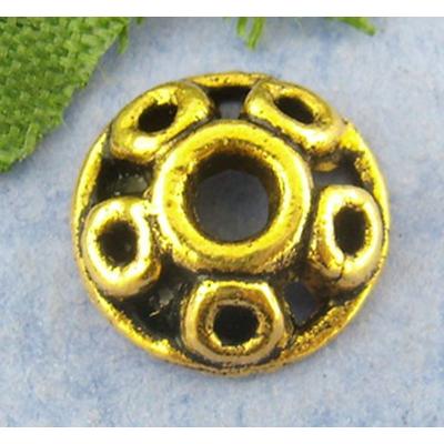 Lot de 10 Coupelles en métal couleur doré vieilli 10x3mm