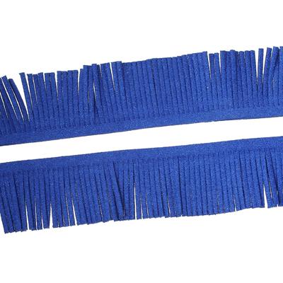 20 cm de frange en suédine bleu pailleté irisé