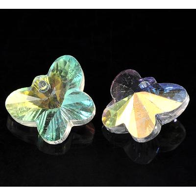 Lot de 2 pendentifs-breloques en verre AB forme papillon