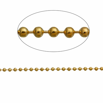 Un mètre de chaîne boule bille  en métal doré
