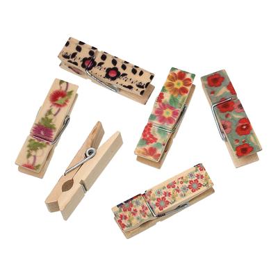 Lot de 2 jolies pinces à linge en bois décorées
