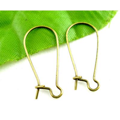 Lot de 40 Boucle d'oreilles dormeuse 24x11mm,  métal bronze