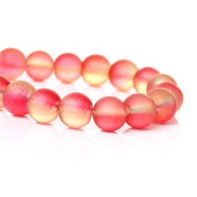 Lot de 15 perles en verre 8mm multicolore jaune-rosé effet sablé