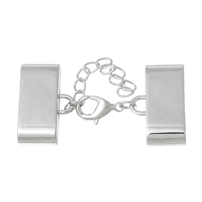 Embouts pour Cordons Collier avec Fermoir Mousqueton et Chaîne d'Extension Rectangle  27x17mm