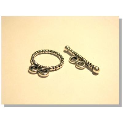 Lot de 4 fermoirs toggle double rangs anneau bouée torsadée métal argenté 20mm