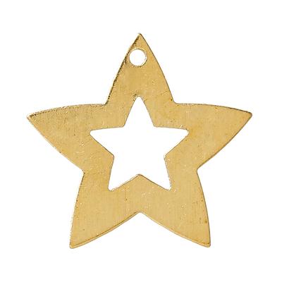 Lot de 10 breloques en forme d'étoiles contour large et vide à l'intérieur.