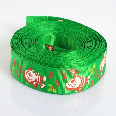 Un mètre de ruban polyester en gros-grain, vert pomme, largeur 25mm