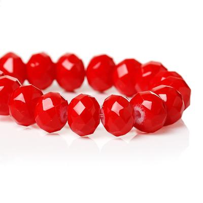 Lot de 12 perles en verre 8mm à facettes rouge cerise