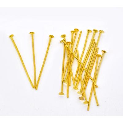 Lot de 100 tiges à tête plate 30mm métal doré