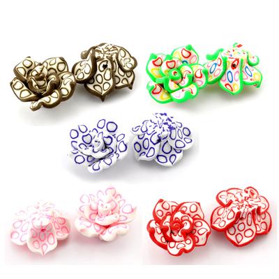 Lot de 2 fleurs en pate polymère fimo  25x14mm à motifs cercles