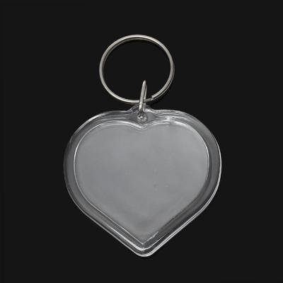 Lot de 2 portes clés porte photo forme coeur en acrylique