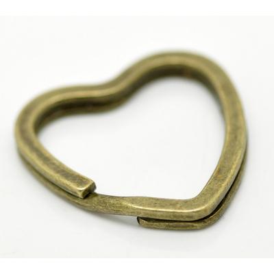 Un Anneau Porte-clés Coeur métal bronze 31x31mm