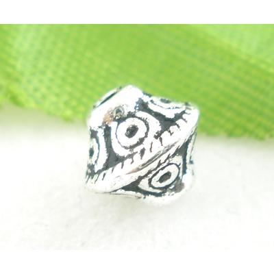 Lot de 10 Perles bicones en métal argenté 6x6mm