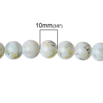 Lot de 20 Perles Verre Rond Beige  moucheté 10mm