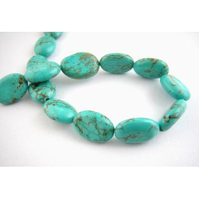Lot de 4 perles en turquoise synthétique ovale 10x14mm