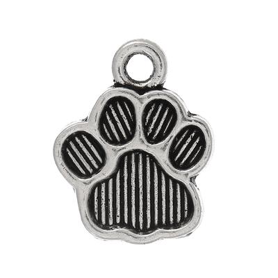 Lot de 8 Breloques empreinte pattes animaux, chat, chien, ours en métal argenté 15x12mm