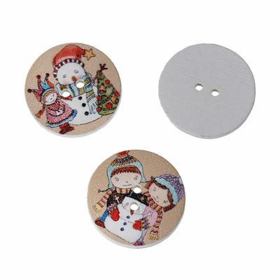 Lot de 7 boutons de Couture en Bois décor de Noël au Hasard diamètre 25 mm