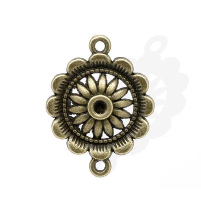 Lot de 4 Connecteurs Motif Fleur Couleur bronze