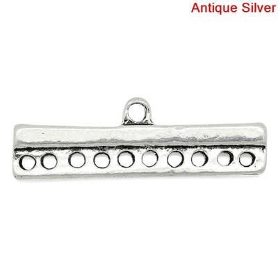 Lot de 4 Connecteurs de bijoux  Forme Rectangle Argent vieilli embouts multirangs 10rangs