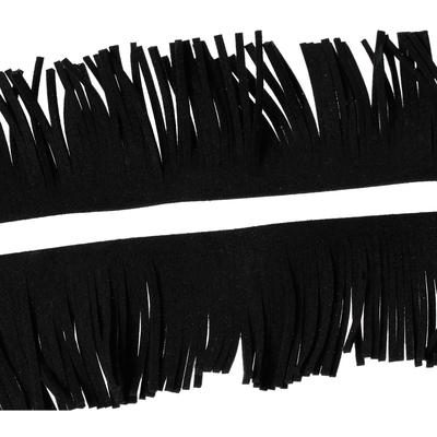 20 cm de frange en suédine noire