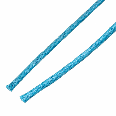 Un mètre de fil cordon ciré en coton  bleu 1 mm