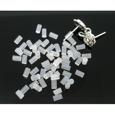 Lot de 100 embout de Boucles d'Oreilles en Silicone Forme Colonne transparent