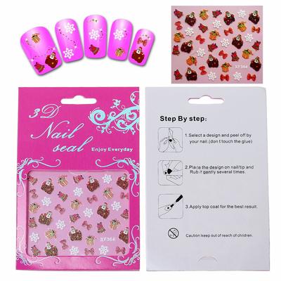1 plaque de Stickers d'ongles autocollant en PET Forme de neige de père Noel de paquet cadeau