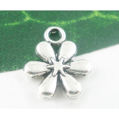 Lot de 10 pendentifs fleur étoile métal argenté vieilli