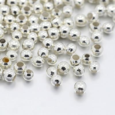 Lot d'environ 500 perles à écraser couleur métal argenté  (sachet de 10 g)
