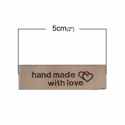 """Lot de 10 Étiquettes Imprimées avec coeur tissées, polyester, rectangle Café Clair  """" Hand Made With Love """" 50mm x 15mm"""