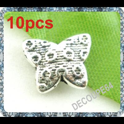 Lot de 10 Perles papillons en métal argenté 11x9mm