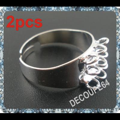 Lot de 2 bagues support ajustables simples 6 anneaux en métal argenté