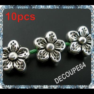 Perles fleurs en métal argenté 9mm Lot de 10