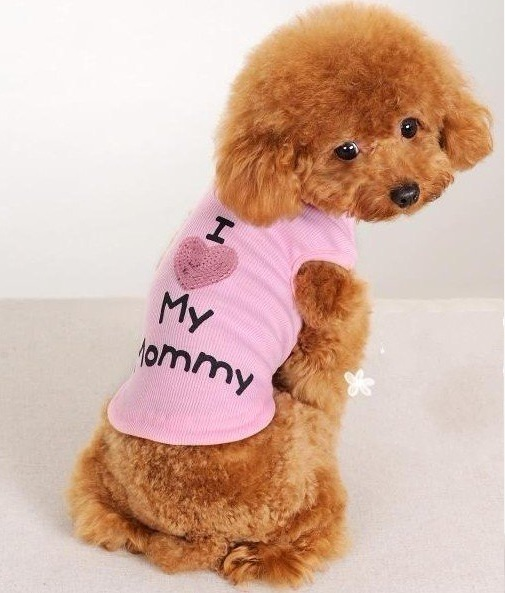 T-SHIRT ROSE I LOVE MY MOMMY POUR CHIEN