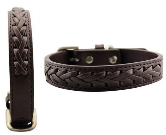 collier pour petit chien collier en cuir tresse caf. Black Bedroom Furniture Sets. Home Design Ideas