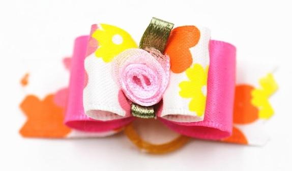 elastique fleur rose pour chien