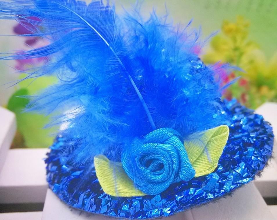 barrette chapeau bleu plume bleue pour chien