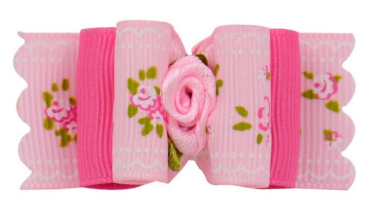 BARRETTE A FLEUR ROSE POUR CHIEN