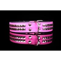 COLLIER CUIR POUR CHIEN collier Rock rose pour chien