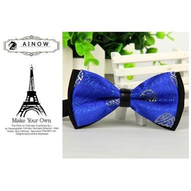 noeud papillon de luxe bleu et noir1 pour chien
