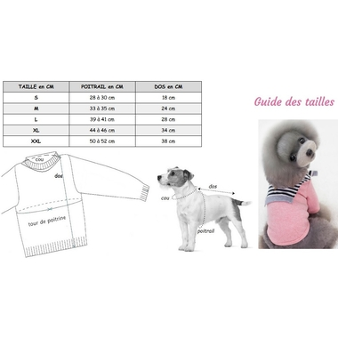 pull faschion rose pour chien taille