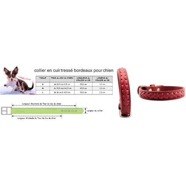 collier en cuir tressé bordeaux pour chien taille